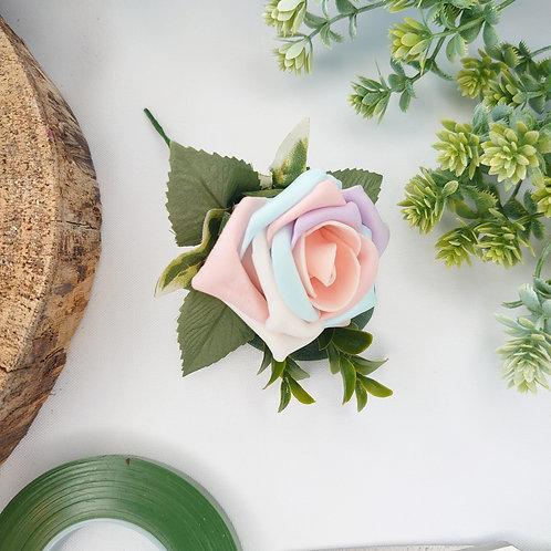 Pastel Unicorn Rainbow Rose Buttonhole or Lapel/Wrist/Handbag Corsage
