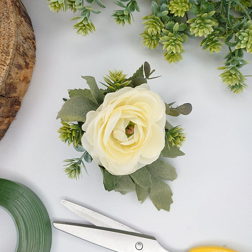 Cream Ranunculus Lapel/Wrist/Handbag Corsage