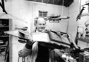 Gerry Anderson in themodel workshop for Terrahawks