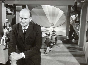 Gerry Anderson on the set of Captain Scarlet's Cloudbase