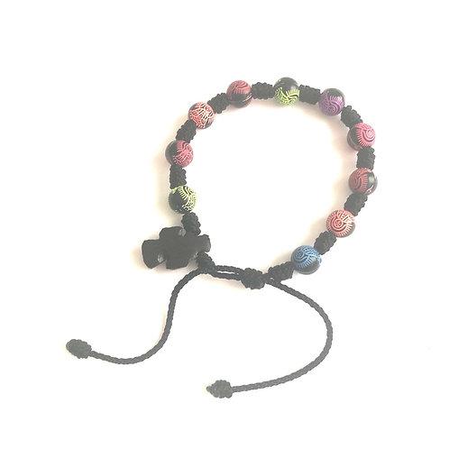 MD009 Denario Hilo Negro con Bolitas de Colores