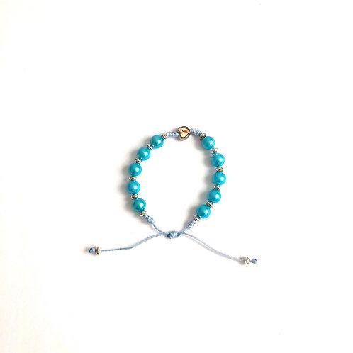 MP002 Pulsera Denario de hilo Azul Perlas Azules