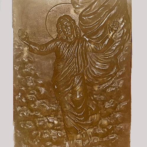 JABÓN ARTESANAL. Natural de avena y miel.  Imagen de Jesús. Dólares