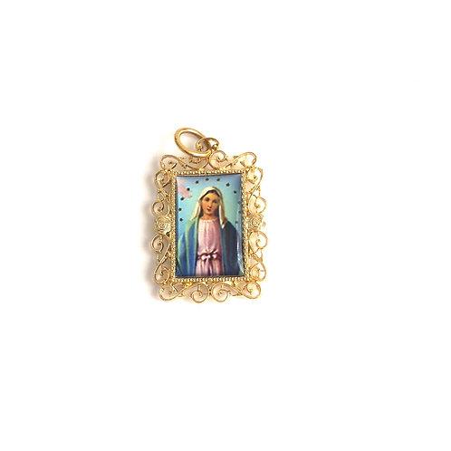 J041 Medalla La Virgen María Dorada