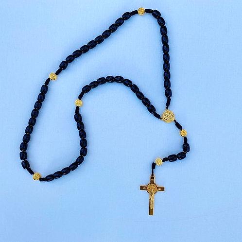 Rosario de Medjugorje negro con dorado MJ006.  Dólares