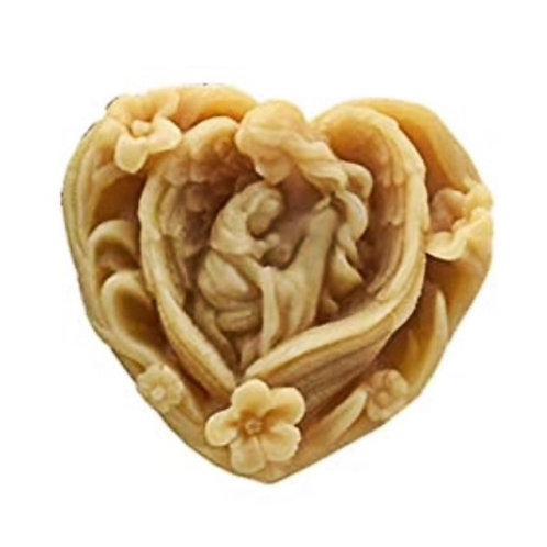 JABÓN ARTESANAL. Natural de avena y miel. Corazón La Virgen y Jesús. Dólares