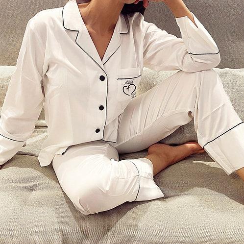 Pijama blanca Dólares. Tallas reducidas