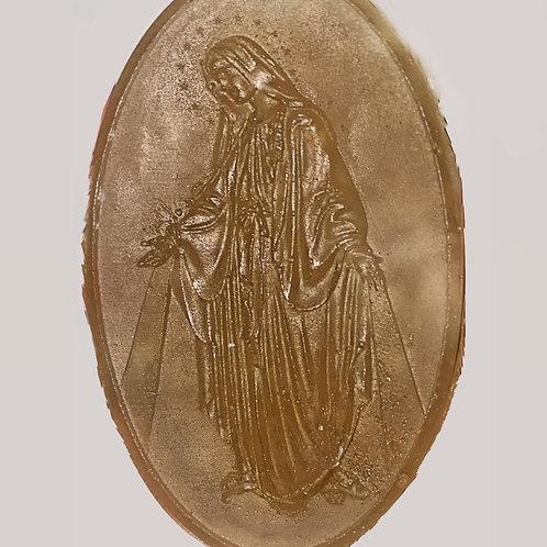 JABÓN ARTESANAL. Natural de avena y miel.  Imagen de La Virgen. Dólares