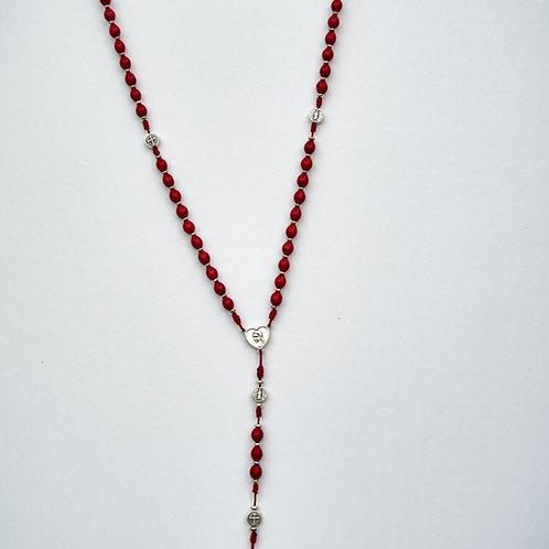 Rosario rojo medallas San Benito  MR009. Dólares