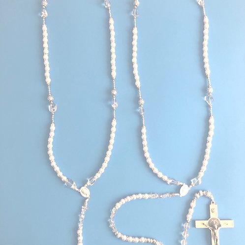MR037 Rosario Para Bodas Perlas Blancas