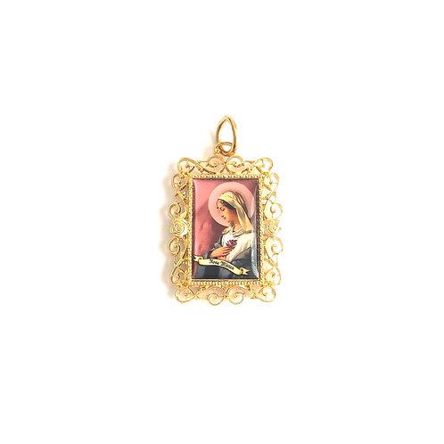 J040 Medalla Rosa Mística Dorada