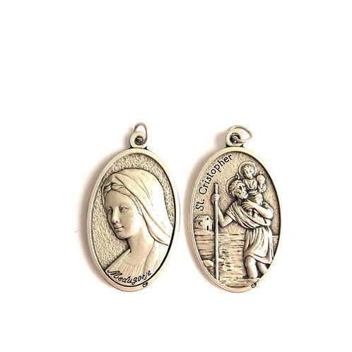 J046 Medalla Virgen Medjegourge y St Cristopher Plateada