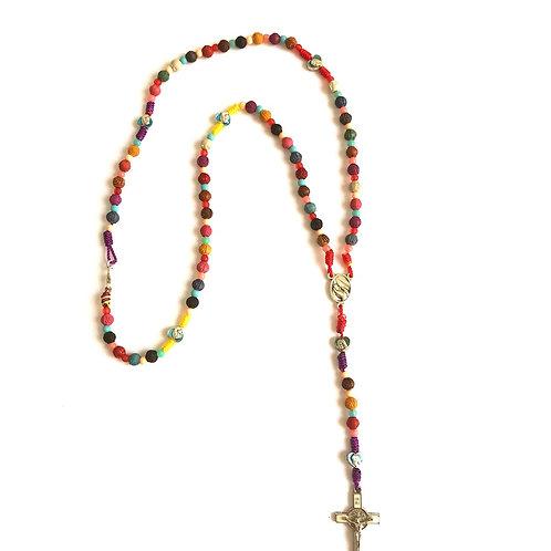 MR029 Rosario de Colores con broche cruz San Benito