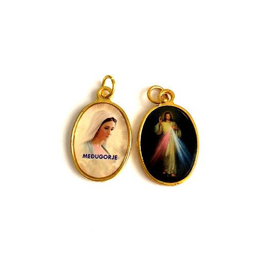 J054 Medalla Virgen Medjegourge y Jesus Divina Misericordia