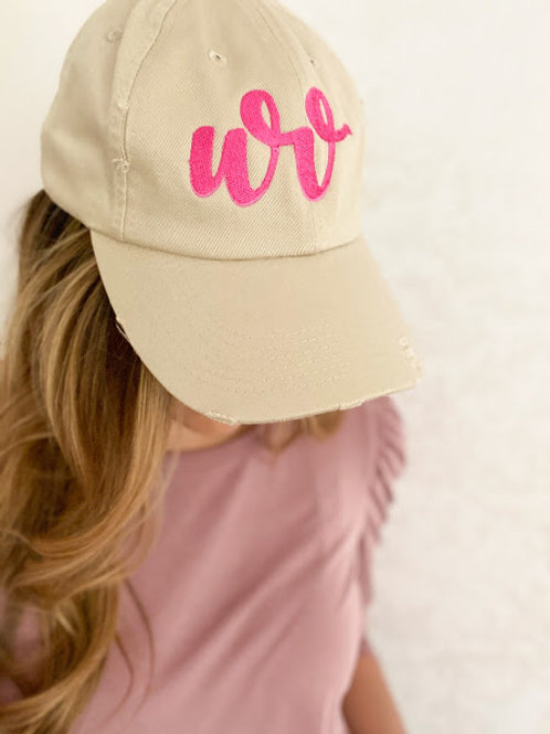 Beige Distressed Hat with WVBHI Logo