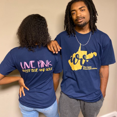 Live Pink Bleed Blue & Gold Tee
