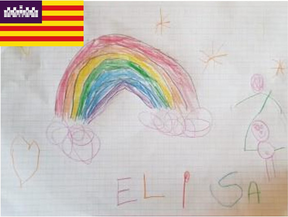 Elisa is from Palma de Mallorca one of the Baleraic Islands. Here she has drawn her favorite dream is to find the end of the rainbow.
