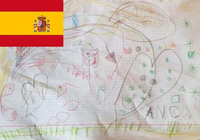 Playing with flying fairies is always around the top ten. Andrea is from Spain is 3 and here she has drawn the magical fairies from her favorite dream with multi coloured creatures.
