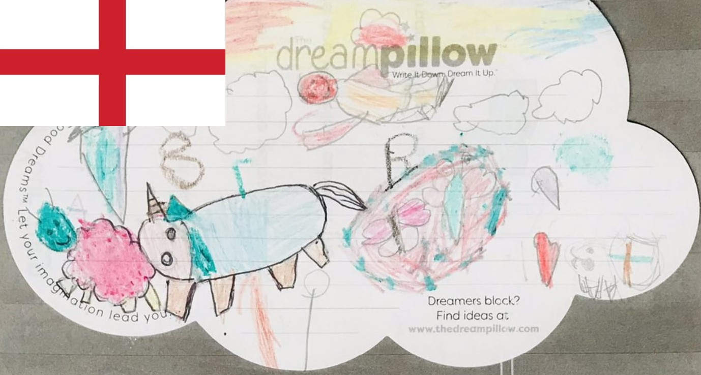 Talking to magical animals was one of the favorite dreams drawn here by Sienna. She is one of two English twins with very different dream preferences