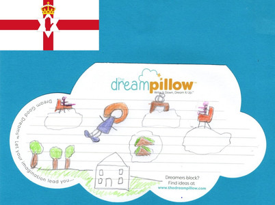Claire G from Lisburn in Northern Ireland sent us her little sisters dream about being a flying Princess holding court on the clouds.