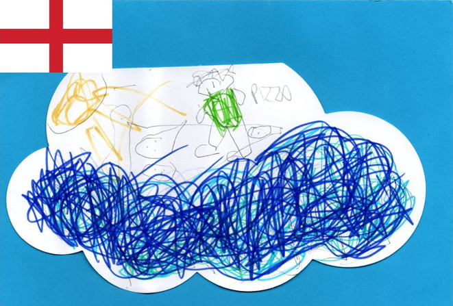 Ethan (age 6) from Yorkshire in the UK love to dream about his yearly family visit to Cornwall eating giant Pizzas on the beach.