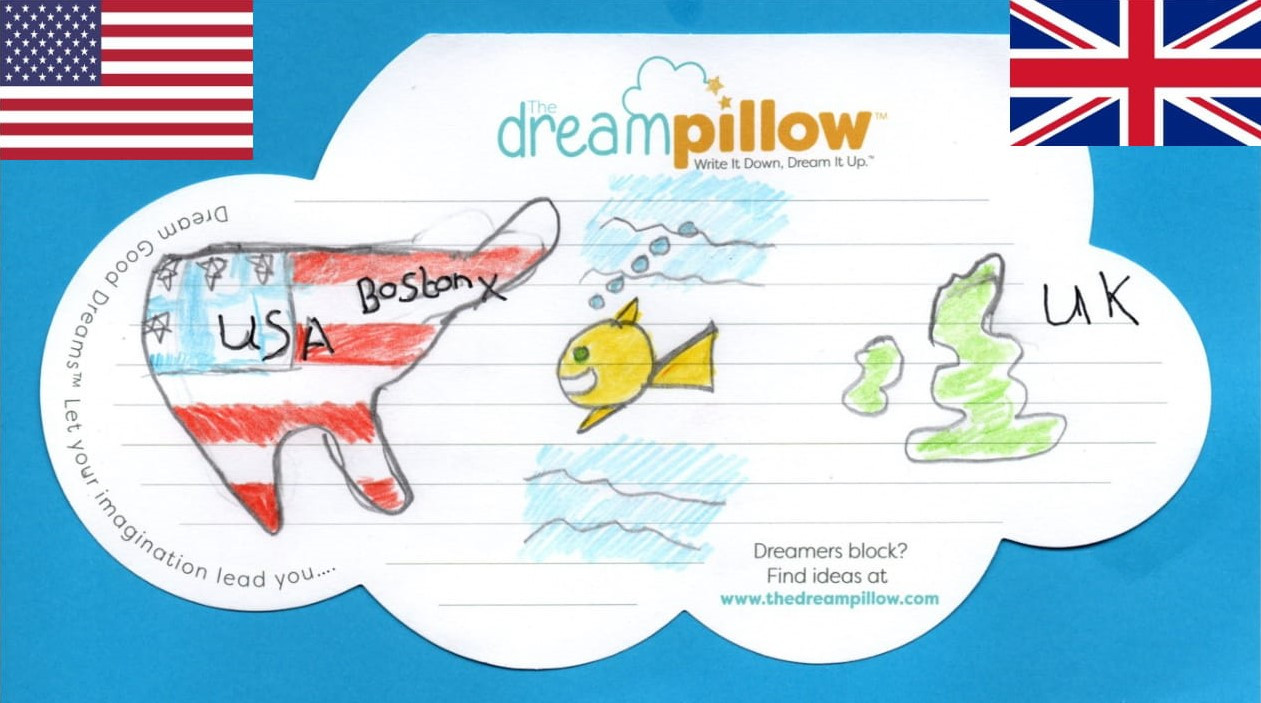Olivia Dreamt she was a fish and swam across the Atlantic ocean as she wanted to visit her Cousin in Boston
