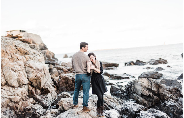 Beautiful Maine Sea Coast Engagement