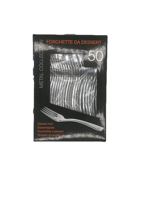 Forchetta Dessert Plastica Silver/Metal 50pz
