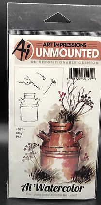 Clay Pot Unmounted Repositionable Stamp