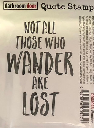 All Who Wander Quote Red Rubber Stamp