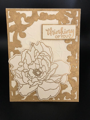 Gold Embossed Peony Card Kit