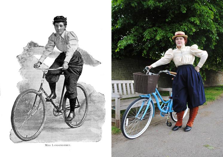 Full Victorian cycling attire, 1894