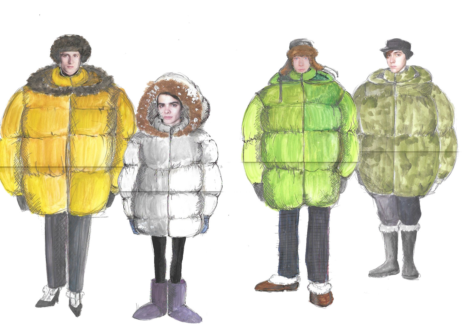 Costume Designs for the whole Cast