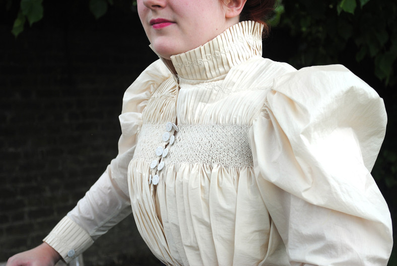 Detail of the smocked blouse
