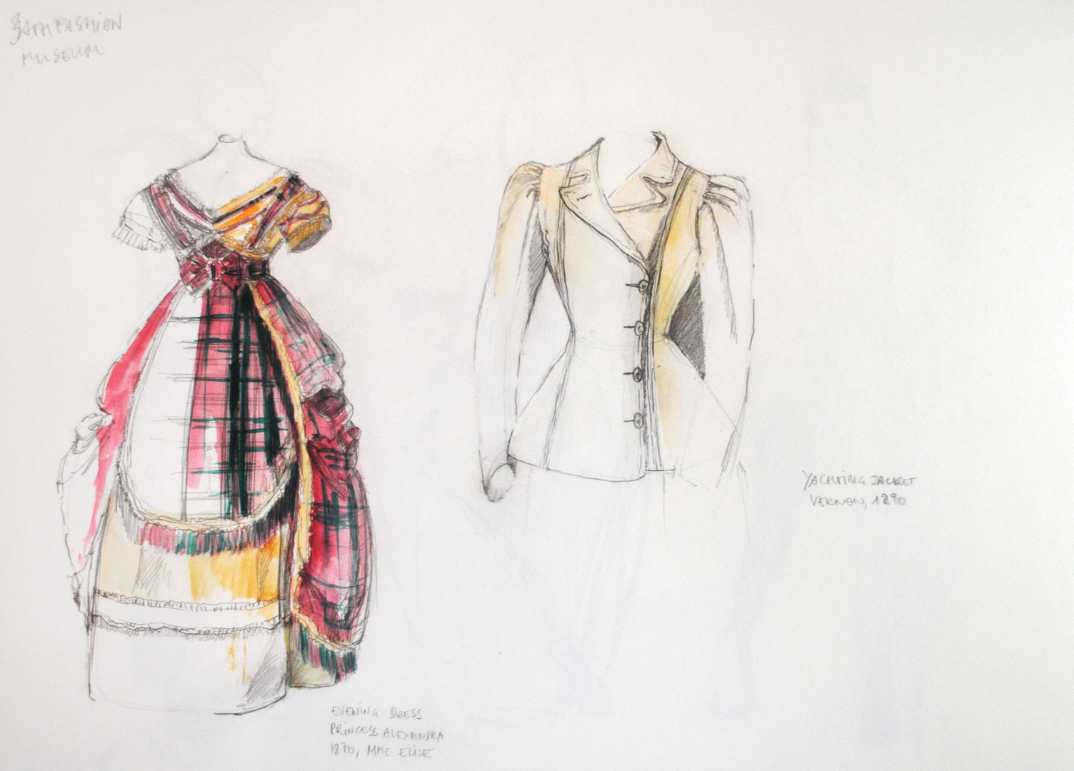 Sketches at Bath Fashion Museum