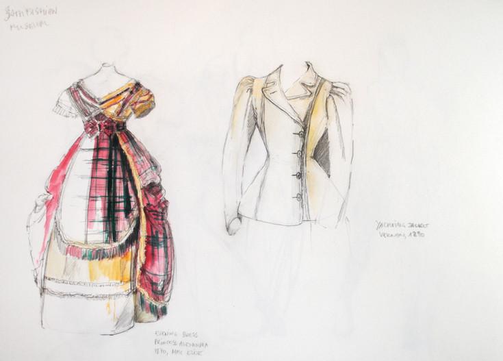 Sketches at Bath Fashion Museum