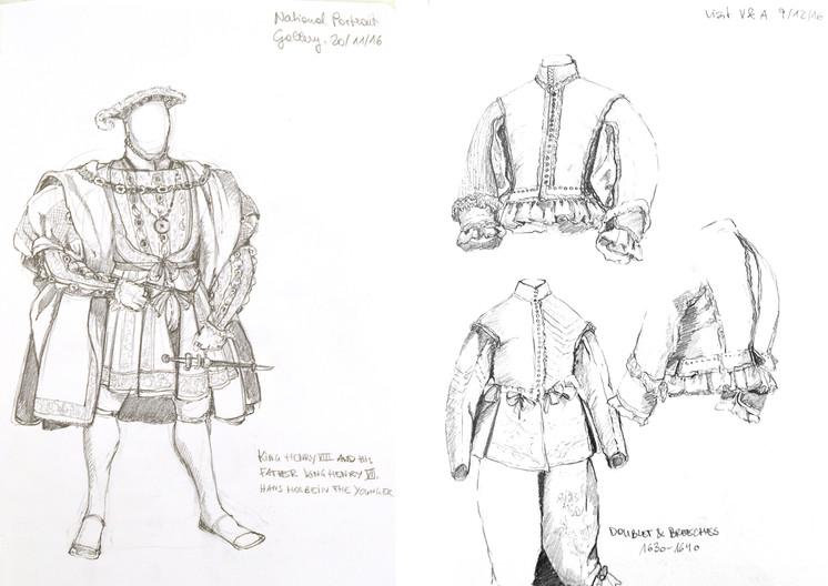 King Henry VIII (NPG) & Men's Doublet, early 17th C. (V&A)