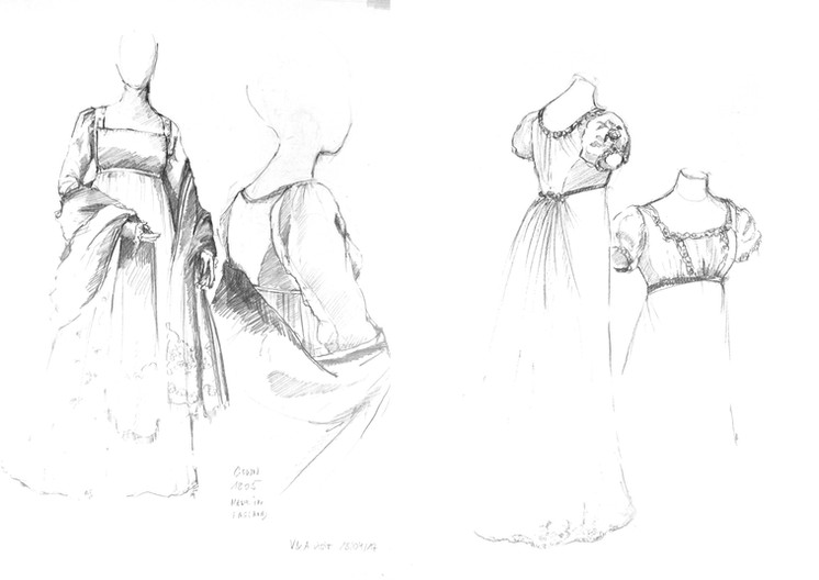 French Gown, 1805 (V&A) & English Gown, 1810 (V&A)