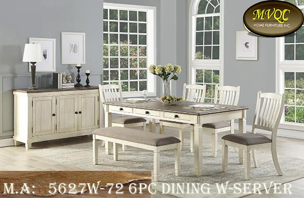 5627W-72 6pc dining w-server