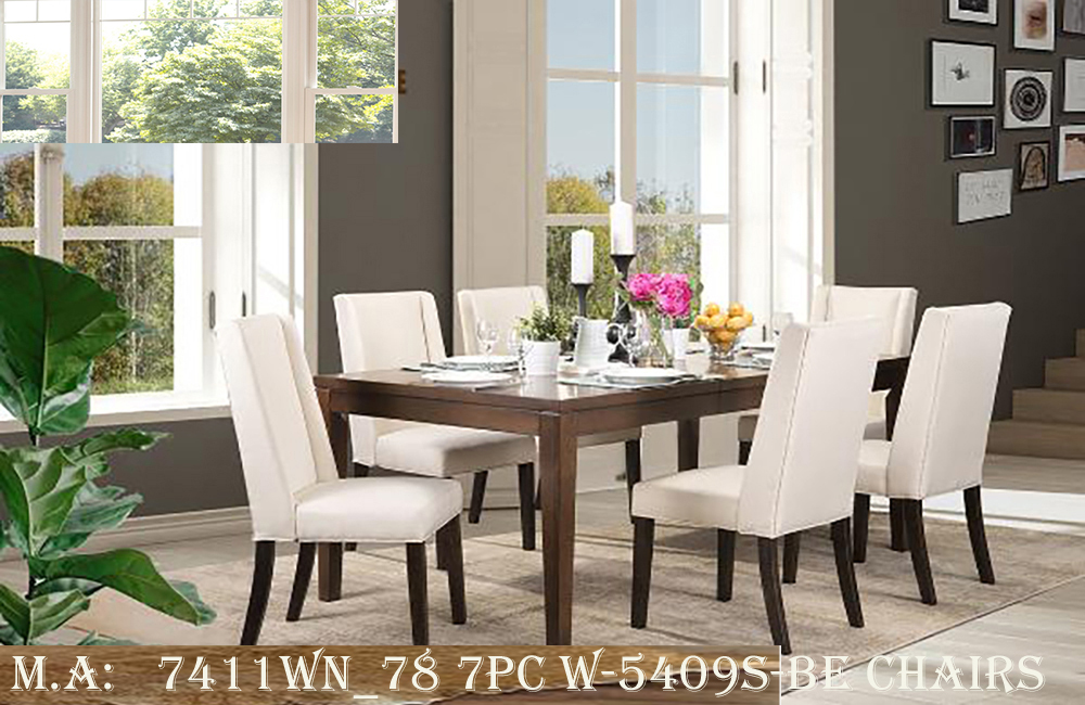 7411WN_78 7pc w-5409S-BE chairs