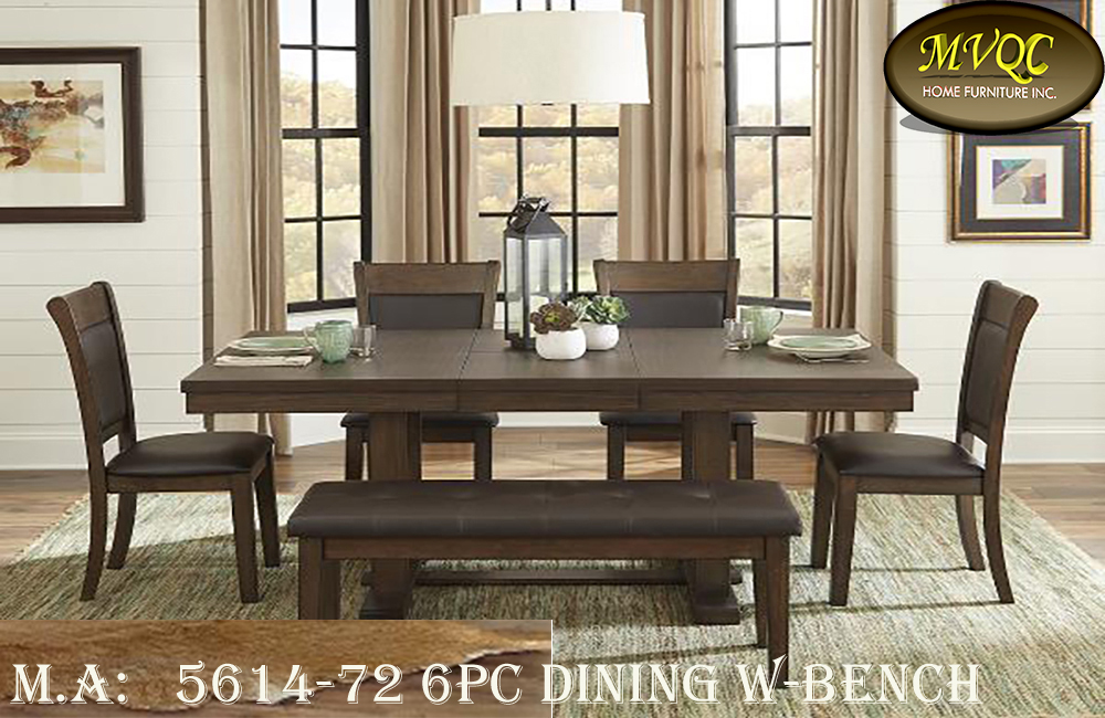 5614-72 6pc dining w-bench