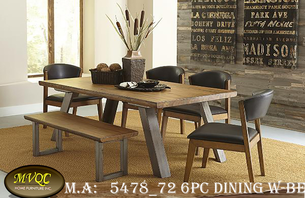 5478_72 6pc dining w-bench