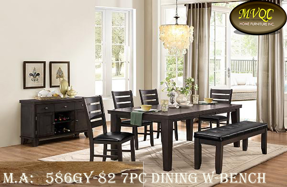 586GY-82 7pc dining w-bench
