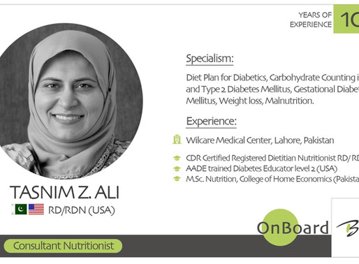OnBoard | Tasnim Z. Ali | Consultant Nutritionist.