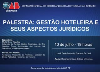 Palestra sobre Gestão Hoteleira e Aspectos Juridicos na OAB SP