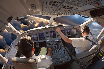Cockpit of a modern passenger aircraft.