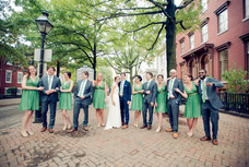 Blue and Green Bridal Party