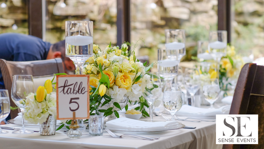 Ericas & Giggs Wedding at Ancaster Mill - Centerpieces