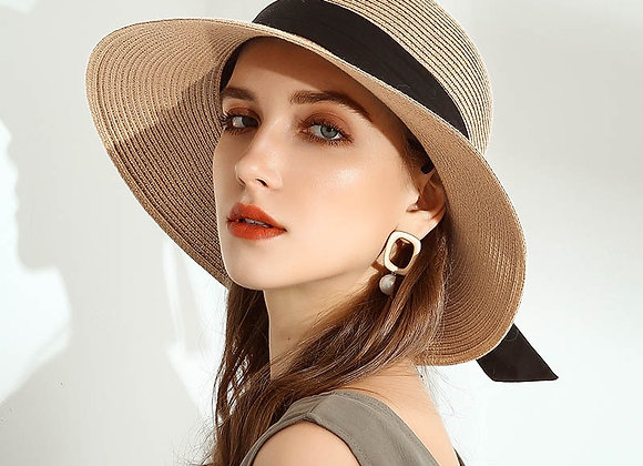 Summer Straw Hat Wide Brim with Ribbon and Bow Great for Travel