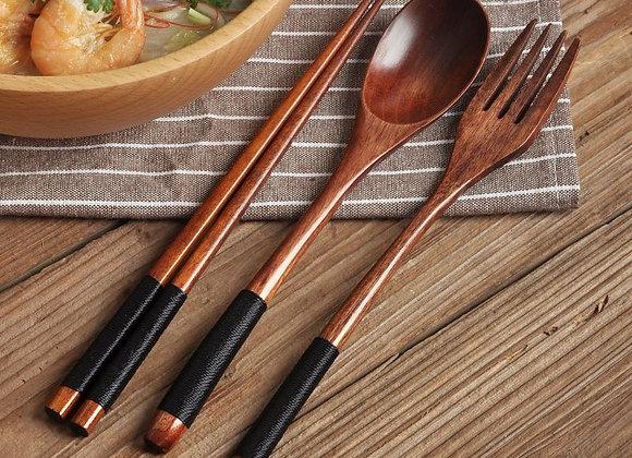 Natural Wood Spoon, Chopsticks and Fork Dinner Set